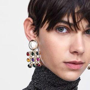 ZARA Colorful Bejeweled Oversized Pearl Earrings